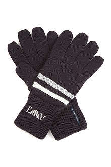 ARMANI JUNIOR Eagle logo striped gloves