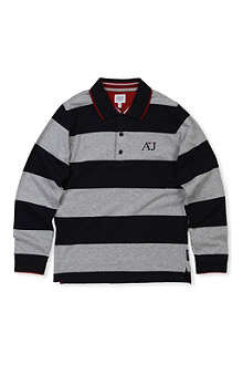 ARMANI JUNIOR Wide stripe polo shirt 10-16 years