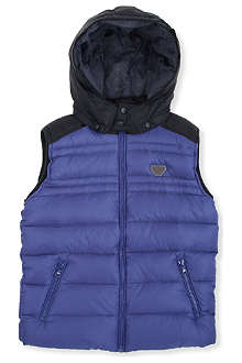 ARMANI JUNIOR Contrast padded gilet 10-16 years