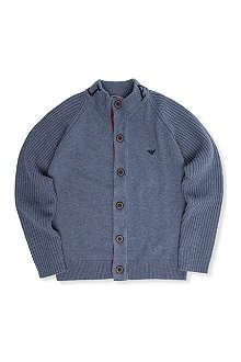 ARMANI JUNIOR Stand-collar knitted cardigan 10-16 years