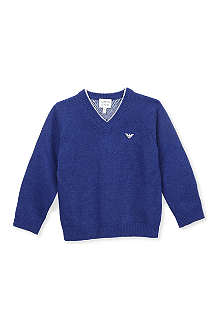 ARMANI JUNIOR V-neck cashmere-blend jumper 2-8 years
