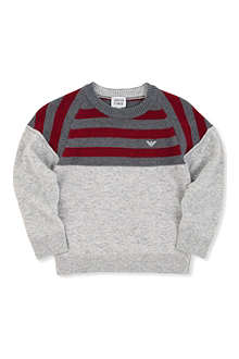 ARMANI JUNIOR Striped shoulder knitted jumper 2-8 years