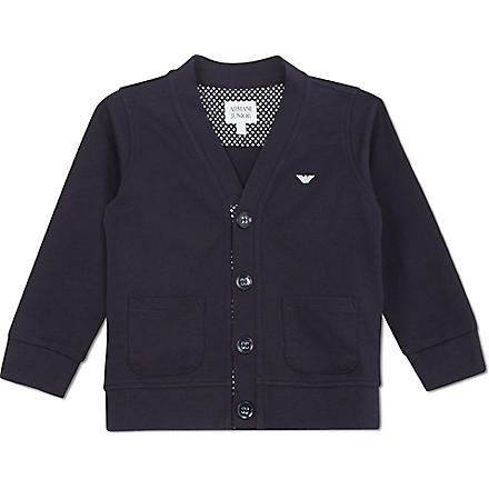 ARMANI JUNIOR Jersey logo cardigan 2-8 years (Navy