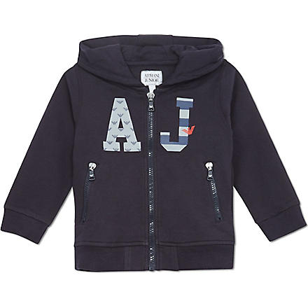 ARMANI JUNIOR Logo hooded sweatshirt 2-8 years (Navy