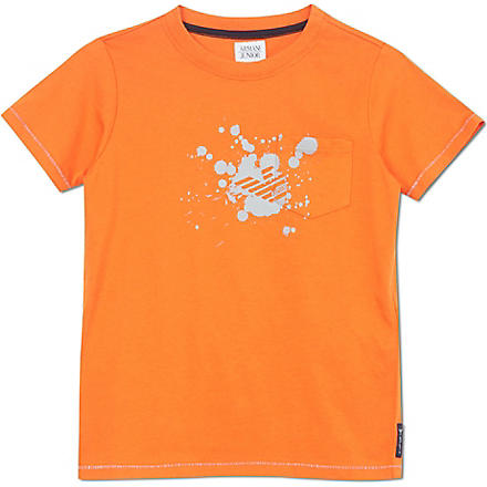 ARMANI JUNIOR Paint splash logo t-shirt 2-8 years (Orange