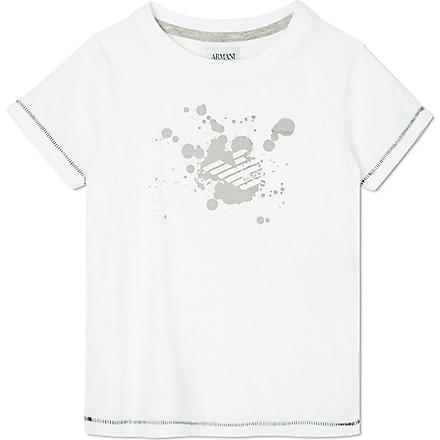 ARMANI JUNIOR Paint splash logo t-shirt 2-8 years (White