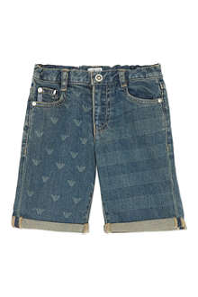 ARMANI JUNIOR Eagle print denim shorts 2-8 years