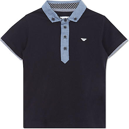 ARMANI JUNIOR Chambray collar polo 2-8 years (Navy