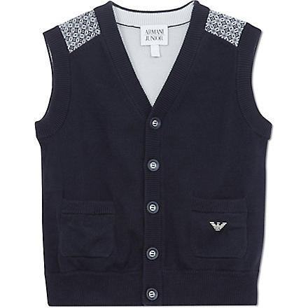 ARMANI JUNIOR Knitted vest 2-8 years (Navy