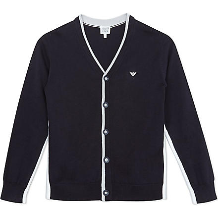 ARMANI JUNIOR Side stripe cardigan 2-8 years (Navy