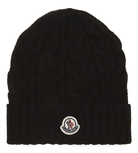 MONCLER Cable knitted wool beanie (Black