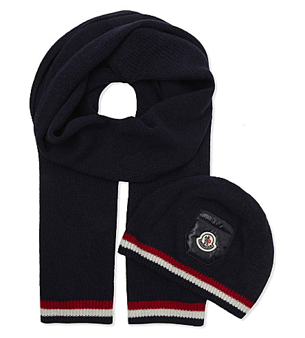 MONCLER Striped beanie and scarf (Navy
