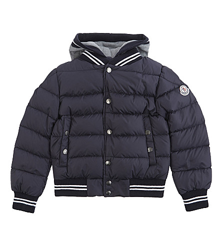 MONCLER Auberie down layered puffer jacket 4-14 years (Navy