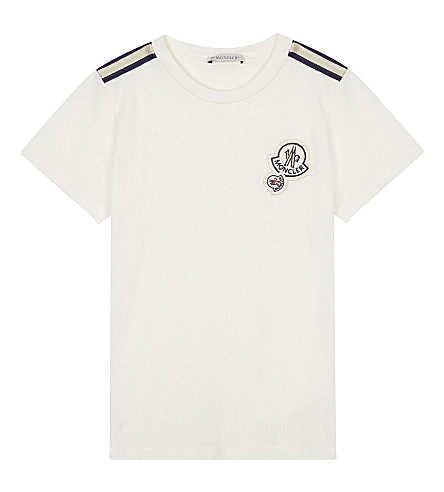 MONCLER Maglia embroidered cotton top 4-14 years (White