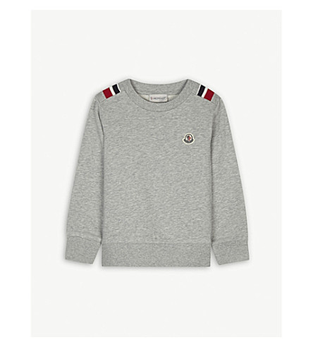 MONCLER Striped trim cotton sweatshirt 4-14 years (Grey