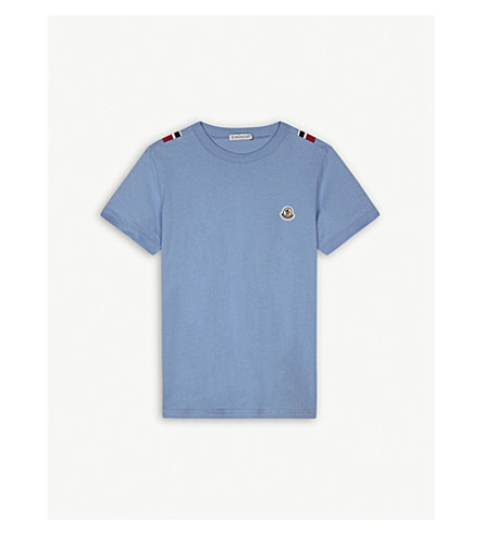 MONCLER Striped trim cotton T-shirt 4-14 years (Light+blue