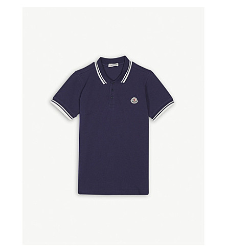 MONCLER Contrast cotton polo shirt 4-14 years (Navy