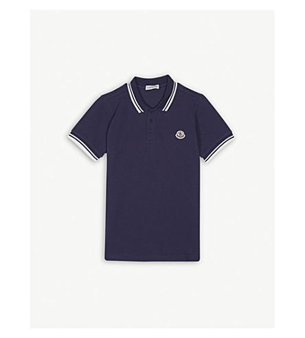 MONCLER Logo pique-cotton polo shirt 4-14 years (Navy
