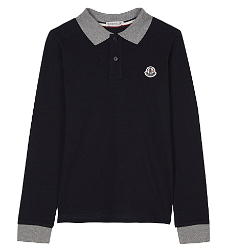 MONCLER Long-sleeved cotton polo shirt 4-14 years (Navy