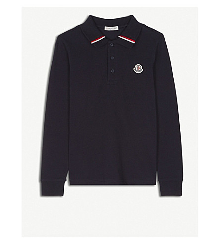 MONCLER Cotton polo shirt 4-14 years (Navy