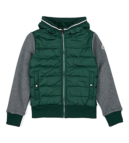 MONCLER Quilted jersey-sleeve jacket 4-14 (Olive/grey
