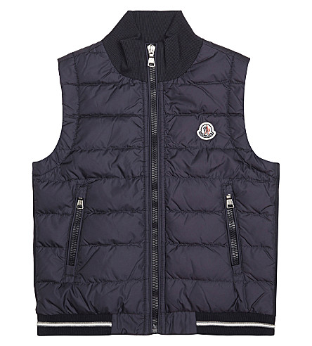 MONCLER Jersey backed gilet 4-14 years (Navy