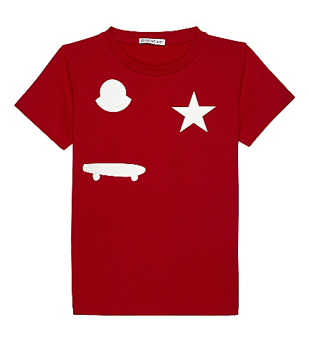 MONCLER Patch cotton short-sleeve T-shirt 4-14 years (455+red