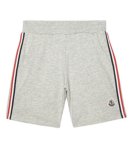 MONCLER Corto striped trim cotton shorts 4-14 years (980+grey