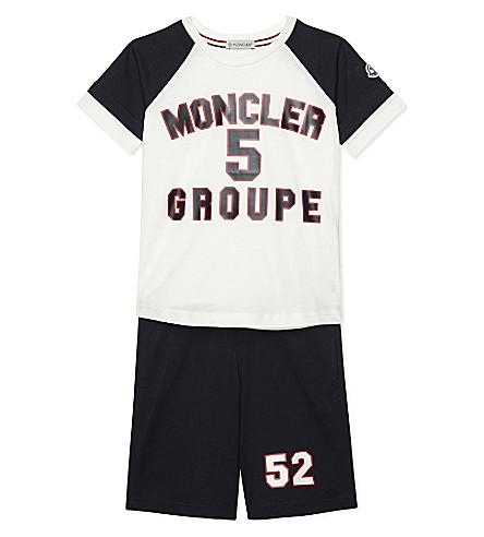 MONCLER Logo cotton T-shirt and shorts set 4-14 years (742+white/navy