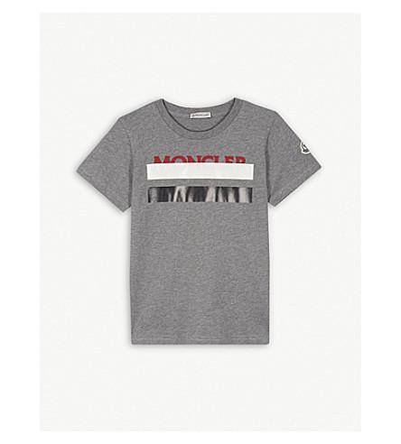 MONCLER Striped logo T-shirt 4-14 years (Grey+marl
