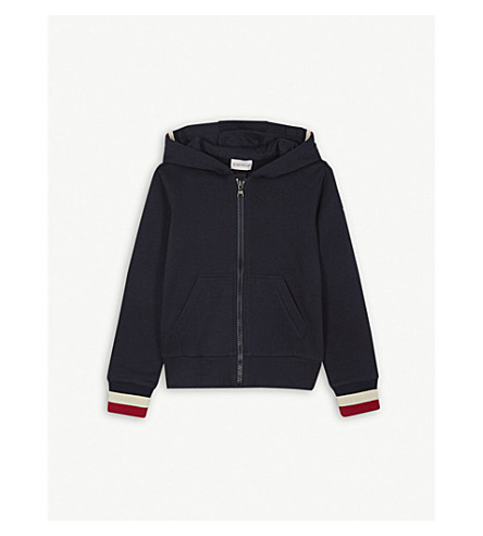 MONCLER Striped cotton zip-up sweatshirt 4-14 years (Navy