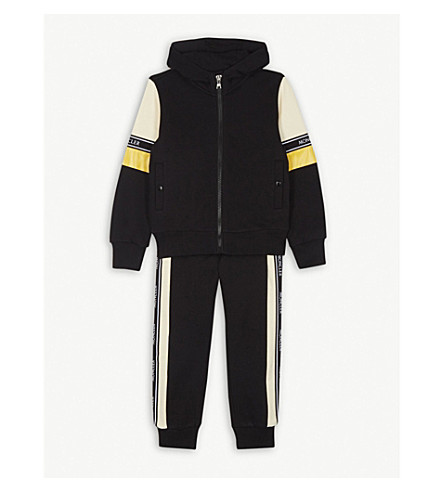 MONCLER Logo stripe cotton tracksuit 4-14 years (Black