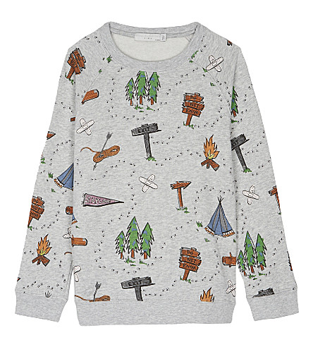 STELLA MCCARTNEY Billy cotton sweatshirt 4-16 years (Explorer+aop+on+grey