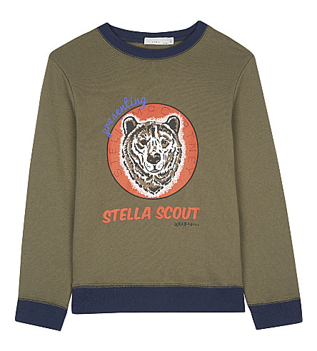 STELLA MCCARTNEY Biz wolf print sweatshirt 4-16 years (Explorer+khaki