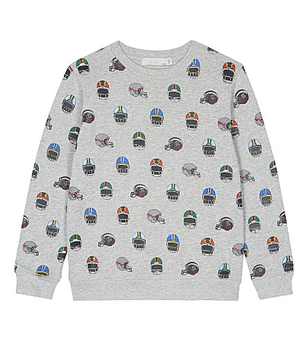 STELLA MCCARTNEY Biz helmet print organic cotton jumper 4-16 years (Helmet+aop+on+grey