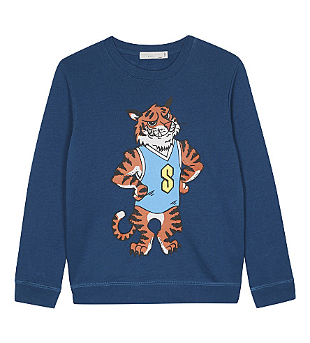 STELLA MCCARTNEY Biz tiger mascot organic cotton jumper 4-16 years (Teal