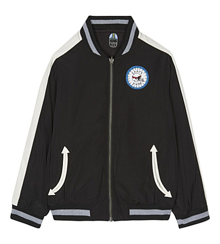 STELLA MCCARTNEY Eastwood organic cotton fleece reversible bomber jacket 4-16 years (Washed+black