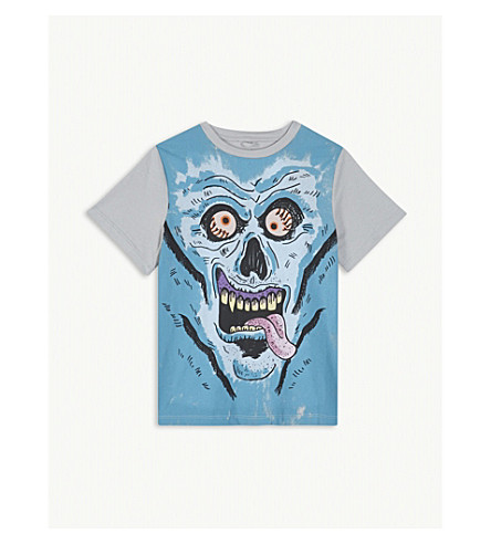 STELLA MCCARTNEY Skull monster cotton t-shirt 4-12 years (Dolphin