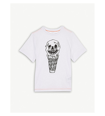 STELLA MCCARTNEY Arrow skull ice cream cotton T-shirt 4-14 years (White
