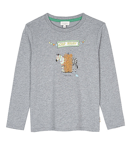 PAUL SMITH JUNIOR Zebra car wash cotton long-sleeve t-shirt 4-14 years (Marl+grey