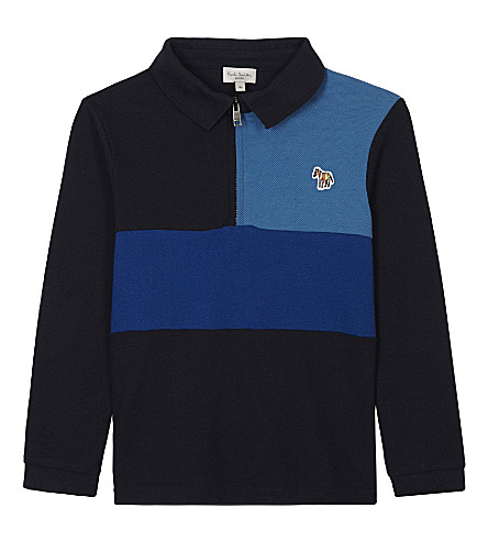 PAUL SMITH JUNIOR Pio zipped cotton-piqué polo top 4-16 years (Navy