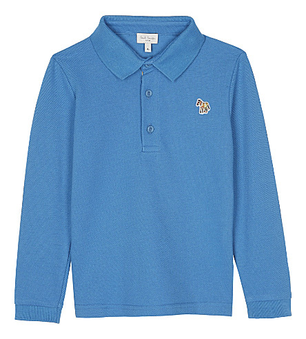 PAUL SMITH JUNIOR Striped zebra patch cotton polo shirt 4-16 years (Blue