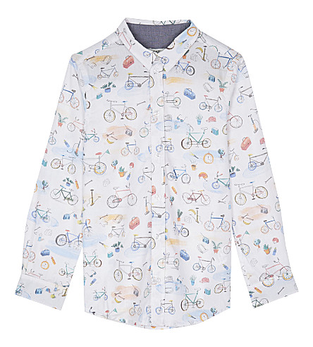 PAUL SMITH JUNIOR Bike print cotton shirt 4-12 years (White
