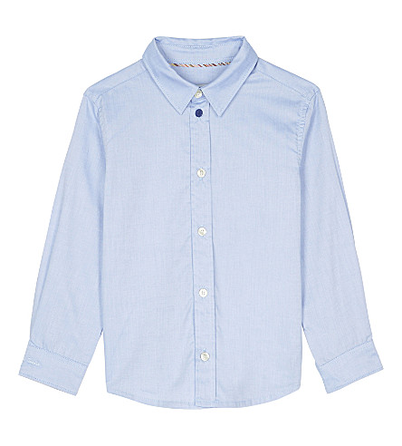 PAUL SMITH JUNIOR Negend striped trim cotton shirt 4-16 years (Light+blue