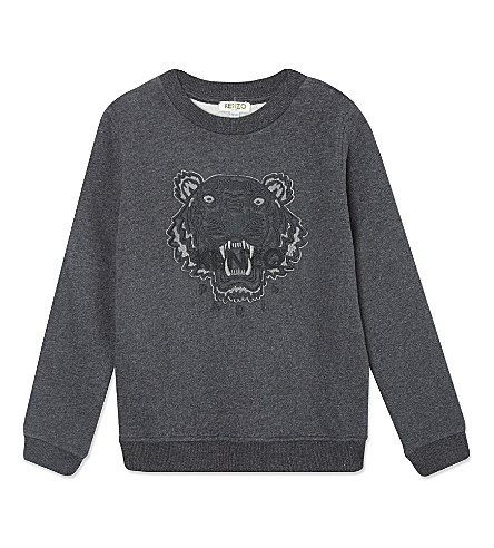 KENZO Embroidered tiger sweater 4-16 years (Grey