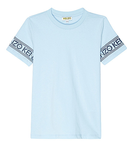 KENZO Logo sleeve cotton t-shirt 4-16 years (Light blue
