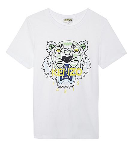 KENZO Tiger head cotton-blend T-shirt 4-16 years (Blanc