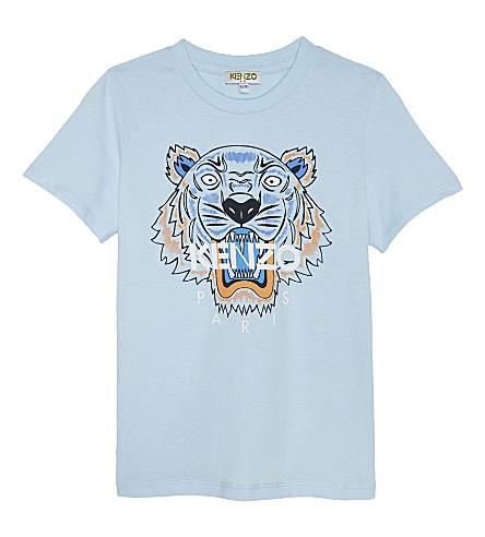 KENZO Tiger head cotton T-shirt 4-16 years (Light blue