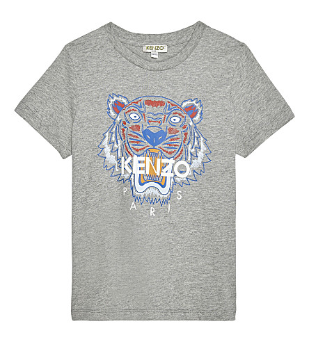 KENZO Tiger cotton t-shirt 4-16 years (Marled gret