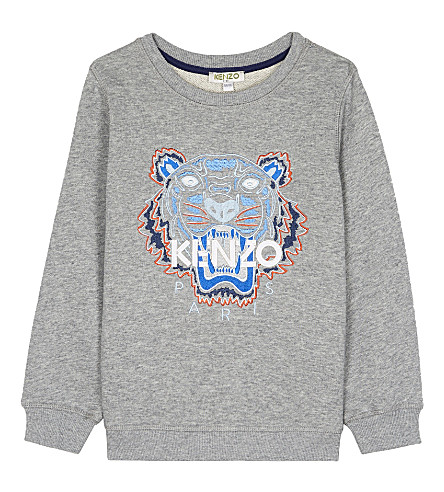 KENZO Tiger head cotton sweatshirt 4-16 years (Marled grey